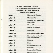 Image of List of Articles Covered in the By-Laws, p.1