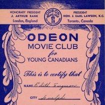 Image of Odeon Movie Club Membership Card