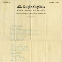 Image of Letterhead, The Guelph Outfitters Women's Apparel and Millinery