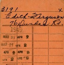 Image of .2 - Library Card of Edith Ferguson, 1949