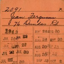 Image of .3 Library Card of Jean Ferguson, 1943