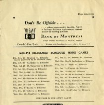 Image of Guelph Biltmores' Schedule - Home Games, p.17