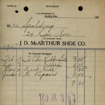Image of Receipt from J.D. McArthur Shoe Co., 1927