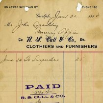 Image of Receipt from R.S. Cull, Clothiers and Furnishers, 1910