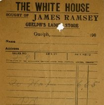 Image of Receipt from The White House, c. 1905