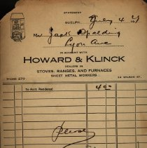 Image of Receipt from Howard & Klinck, 1929