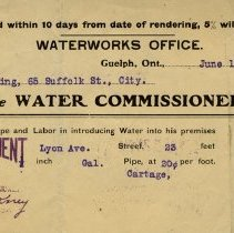 Image of Receipt from Waterworks Office, Guelph, June 10, 1909