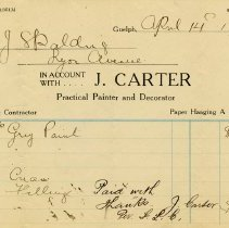 Image of Statement from J. Carter, Painter, 1922