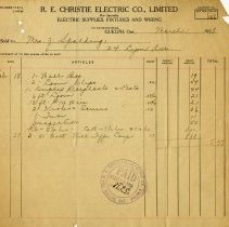 Image of Statement from R.E. Christie Electric Co. Ltd., 1928