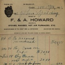 Image of Receipt from F. & A. Howard, Stove Dealers, 1926