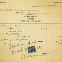 Image of Invoice/ Receipt from A. Bennett, Painter, 1924