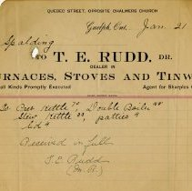 Image of Receipt from T.E. Rudd, Dealer in Stoves and Tinware, 1905