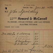 Image of Receipt from Howard & McCarvell, Plumbers, 1922