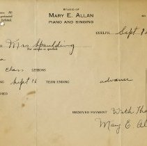 Image of Receipt from Studio of Mary E. Allan, Suffolk Street