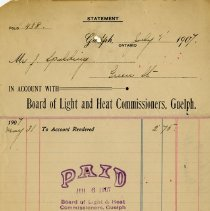 Image of Receipt from Board of Light & Heat Commissioners, Guelph, July 1, 1907