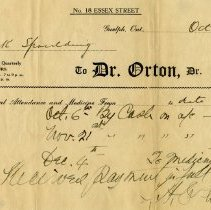Image of Receipt from Dr. Orton, Oct. 1, 1922.