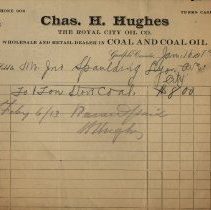 Image of Invoice Issued by Chas. H. Hughes, Coal Dealer, 1913