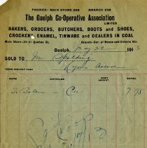 Image of Receipt, The Guelph Co-operative Association, 1913