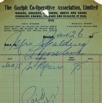 Image of Receipt, The Guelph  Co-operative Association, Ltd., 1915