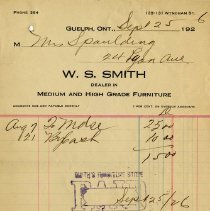 Image of Receipt from W.S. Smith, Furniture Dealer, 1926