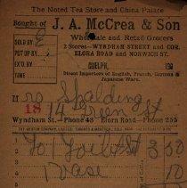 Image of Receipt from J.A. McCrea & Son, c.1905