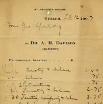 Image of Statement froom Dr. A. R. Davison, Dentist, 1907