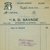 Image of Receipt from A.D. Savage, Optometrist & Optician, 1910