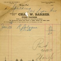 Image of Receipt from Chas. W. Barber, Pork Packer, 1916
