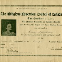 Image of Daily Vacation Bible School Certificate, 1929