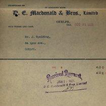 Image of Receipt, D.E. Macdonald & Bros. Limited, 1923