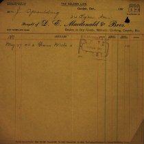 Image of Invoice, D.E. Macdonald & Bros., 1911
