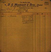 Image of Invoice, D. E. Macdonald & Bros., 1913