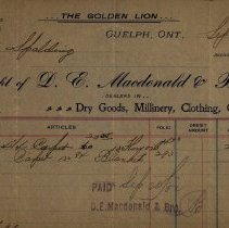 Image of Receipt issued by D.E. Macdonald & Bros., 1902
