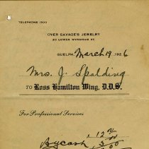 Image of Receipt from Dentist, Ross Hamilton Wing, 1926