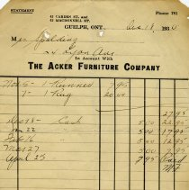 Image of Receipt from The Acker Furniture Company, 1930
