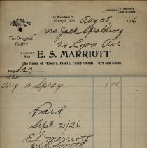 Image of Receipt issued by E. S. Marriot, 1926