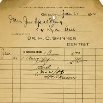 Image of Receipt from Dr. H.C. Skinner, 1910