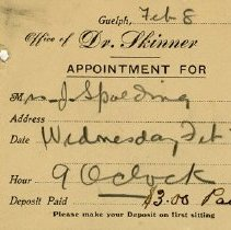 Image of Appointment Card for Dr. Skinner, 1915