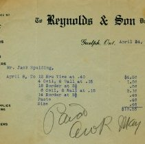 Image of Invoice from Reynolds & Son, 1916