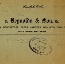 Image of Receipt from Reynolds & Son, 1907