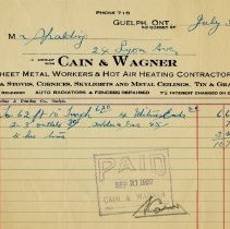 Image of Receipt from Cain & Wagner, 1927