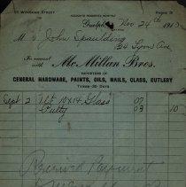Image of Receipt, McMillan Bros., 1910