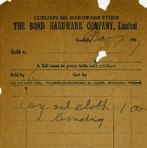 Image of Receipt, Bond Hardware Co., 1907