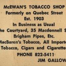 Image of Business Card, McEwan's Tobacco Shop