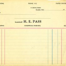 Image of Blank Invoice, H.E. Pass, Hardwood Finishing