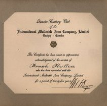Image of IMICO Quarter of a Century Certificate to Frank Hutton