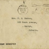Image of Envelope addressed to Mrs. F.J. Hutton, Guelph, 1939