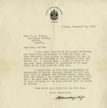 Image of Letter to Mrs. Hutton from Prime Minister Wm. Lyon McKenzie King