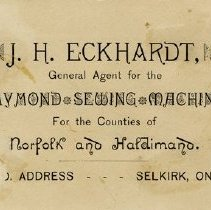 Image of Reverse side of Advertising Card