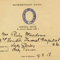 Image of Membership Card, The Royal Club for Ladies From Beyond the Seas, 1918